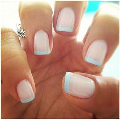 Blue Tipped French Manicure Design