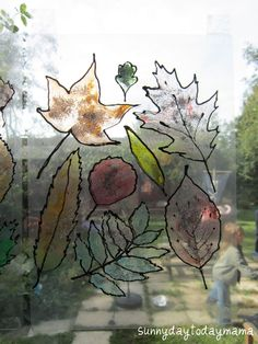 Autumn leaves window display