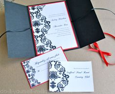 DIY Black and White Damask by Do-it-yourself-invitations.com: To make these invitations start off with a 6 X 6 piece of black card stock. Print the invitation information on white card stock and attach (I used double