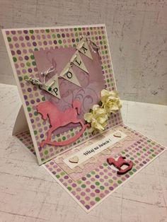 kartka z życzeniami z okazji narodzin dziecka #easel #card #easelcard #kartka #sztalugowa #scrapbooking