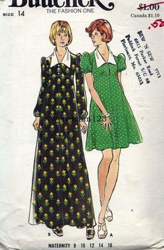 Vintage 1974 Empire Waist Maternity Dress Fit and Flare...Puff Sleeves...Mini or Maxi Length. Butterick 3593 Bust 36