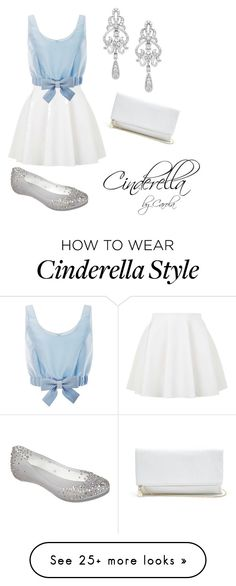 """Cinderella inspired Outfit"" by carolapalma on Polyvore featuring Topshop, Honor, Melissa, Wrapped In Love and GUESS"