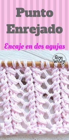 Un punto vintage, para prendas de invierno o de verano: Punto Enrejado, verdadero encaje en dos agujas Source by lvguillen VEJA MAIS lvguillen. Knitting Help, Knitting Stiches, Lace Knitting, Crochet Stitches, Gilet Crochet, Crochet Wool, Tunisian Crochet, Free Crochet, Arm Knitting Tutorial