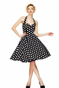 2014 polyvore '50s fashions for women   Bunny - 50s Retro halter 50s Meriam Swing dress in Polka black white