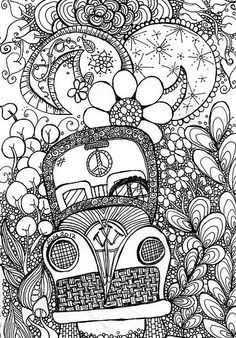 Trippy Bug Zentangle by MysticDragonfly-Love it!Should do the old car for my fellow. Tangle Doodle, Doodles Zentangles, Zentangle Patterns, Doodle Art, Coloring Book Pages, Printable Coloring Pages, Doodle Coloring, Zen Art, Arte Pop