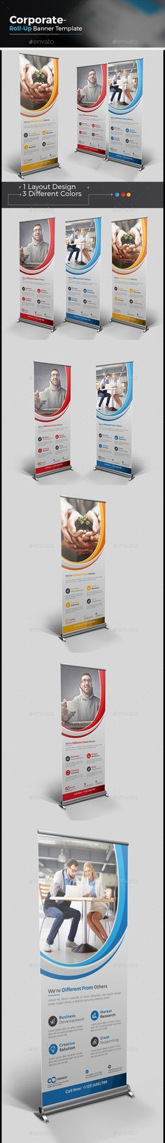 Buy Business Roll-up Banner by CRISTAL_P on GraphicRiver. Corporate Roll-up Banner is very easy to use and change text,color,size,look and everything because i made it on ill. Graphic Design Templates, Print Templates, Banner Vector, Banner Template, Letterhead Template, Brochure Template, Signage Design, Banner Design, Rollup Design