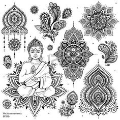 india ornamento: Conjunto de elementos y símbolos indios ornamentales                                                                                                                                                                                 Más