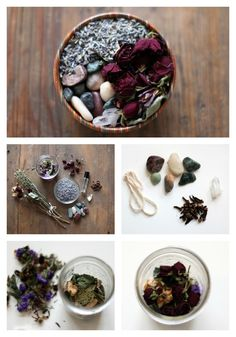 Combine dried flowers, essential oil, herbs and spices of your choice, and any other goodies (like pretty stones) in a jar.  #Potpourri #DIY #MothersDay