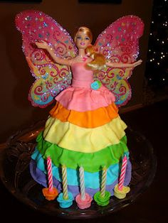 Rainbow Fairy Barbie cake.