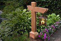 DIY garden pathway lamp post for the back yard … and front yard