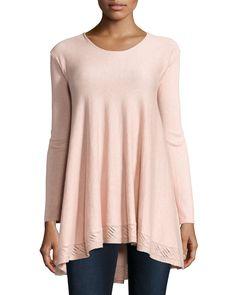 Max Studio Long Crochet-Trim Sweater, Slipper Pink, Women's, Size: S, Slipper Pi