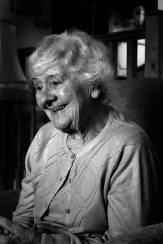 ...with a smile and peace, Beautiful smile. Old lady, wisdom, lines of life, wrinckles, beauty, portrait, photo b/w.