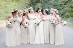 Love the floral headpieces and the neutral colors
