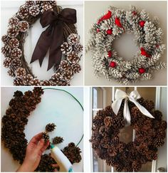 23 Clever DIY Christmas Decoration Ideas By Crafty Panda Pine Cone Christmas Decorations, Diy Christmas Ornaments, Christmas Art, Christmas Wreaths, Pine Cone Crafts, Outdoor Christmas, Diy Wreath, Diy And Crafts, Holiday