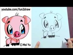 How to Draw a Cartoon Pig under 2 min - Cute animal drawings - art lessons for kids Funny Cartoon Pictures, Cute Cartoon, Cartoon Cartoon, Cute Animal Drawings, Anime Eyes, Cute Animals, Draw Animals, Animal Quotes, Fantasy Creatures