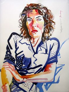 """Don Bachardy Signed 1989 Original Watercolor Gouache Painting """"Mary Woronov"""""""