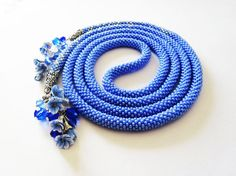 Blue Lariat with flowers Universal jewelry Beaded by NatkaHandmade