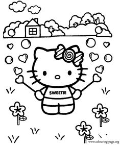 In This Coloring Page Hello Kitty Is Having Fun Playing With A Bubble Blower