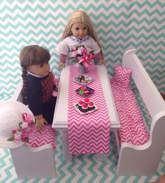Table And Two Benches In White Fits American Girl Doll, Battat, Children Chairs…
