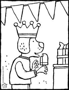 de jarige eet een ijsje - kleurplaat kleurprent tekening Birthday Coloring Pages, Colouring Pages, Puzzles, Snoopy, Pictures, Ice, Coloring Pages, Birthday, Birthday Celebrations