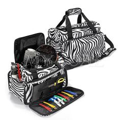 Hair Tools Professional Hairdressers Beauty Zebra Kit Bag Case Cosmetic Salon