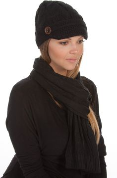 EHATES870VB - Womens 2-piece Cable Knitted Visor Beanie Scarf and Hat Set with Button Accent ( 8 Colors ) - Black/One Size