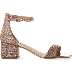 Steve Madden Irenee rose gold glitter block heel sandals (959.850 IDR) ❤ liked on Polyvore featuring shoes, sandals, block-heel sandals, colorblock sandals, steve madden, pointy shoes and party sandals
