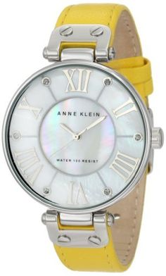 Anne Klein Women's 10/9919MPYL Silver-Tone Yellow Leather Strap Watch Anne Klein. $54.98. Yellow leather strap with stainless steel buckle closure. Genuine mother-of -pearl dial with silver-tone applied roman ii, iv, vi, viii, x & xii. Silver-tone applied stick markers with glitter filled tips. Oversized silver-tone 34.3mm round case. Water-resistant up to 100 ft.