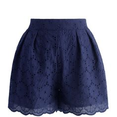 Chicwish Petite Cutout Flowers Shorts in Navy ($36) ❤ liked on Polyvore featuring shorts, blue, blue shorts, navy shorts, cut out shorts, cotton elastic waist shorts and relaxed shorts