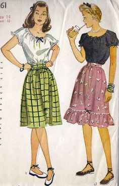 Misses Peasant Blouse and Skirt 1940s Dresses, Vintage Dresses, Vintage Outfits, Vintage Clothing, Vintage Dress Patterns, Vintage Skirt, Blouse And Skirt, Peasant Blouse, 1940s Fashion