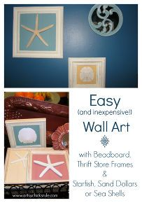 restore restyle relove made easy with chalk paint, chalk paint, painting, Old thrift store frames scrap pieces of beadboard or anything really for the backing such as fabric paper etc and Sand Dollars Sea Shells or Starfish make for an easy inexpensive idea for home decor