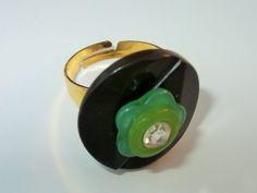 Chunky Brown Ring Green Ring Flower Ring Rhinestone by mscenna, $5.00