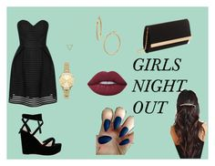 """""""girls night out indie outfit #9"""" by klarkeyk on Polyvore featuring Wanderlust + Co, New Look, Bony Levy and Lime Crime"""
