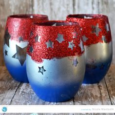 Reverse stencil glittered jars by Nicole Mantooth for Silhouette