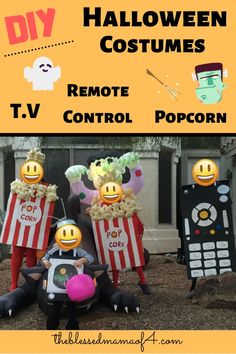 Here is a super easy DIY family Halloween costume idea.V playing your favorite Halloween movie, remote control for the T.V and of course popcorn buckets for your movie. Easy Halloween Crafts, Family Halloween Costumes, Diy Halloween Decorations, Costumes Kids, Halloween Ideas, Costume Ideas, Praying For Your Family, Fun Activities, Diy Gifts