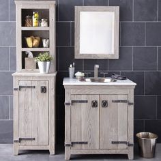 Native Trails Americana Driftwood 30-in. Single Bathroom Vanity Set - Create a rustic, contemporary bathroom with the Native Trails Americana Driftwood 30-in. Single Bathroom Vanity Set. This set includes seven timel...