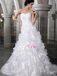 La falta está interesante... Elegante A-línea / Princesa Novia pliegues mangas rebordear vestido de novia capilla tren