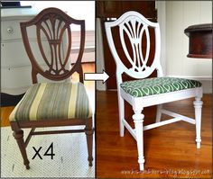 His and Hers: Unplanned Green and White Dining Room Chairs
