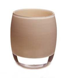 haze is a soft taupe  handmade glass candle holder or vase.