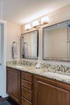 "Discover the bathroom vanity mirror ""Francesco,"" a mid century mirror inspired by Frank Lloyd Wright that will enrich your home's interior. Start browsing now. . . . #FrankLloydWright #hangingmirror #bathroommirror #homedecor Craftsman Decor, Modern Craftsman, American Craftsman, Wall Mirrors, Mosaic Mirrors, Bathroom Mirrors, Vanity Mirrors, Mosaic Art"