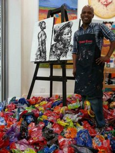 "africaisdonesuffering:      Artist Lounge: ""Waste on Canvas""      The sole use of plastic is something I never thought I would associate with astounding creativity but meet Mbongeni Buthelezi, South Africa's renowned artist, well known for his distinctive, subjective and inventive art style utilizing plastic and a canvas. Buthelezi has joined the green revolution by using waste to create art by 'painting' in recycled plastic."