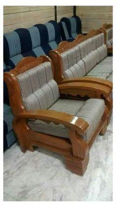 Living Room Sofa Design, Bedroom Furniture Design, Sofa Furniture, Wooden Sofa Set Designs, Wood Bed Design, Wood Sofa, Teak Wood, Sofas For Small Spaces, Sibu