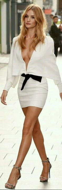 Deep V -Cleavage on Black and White Dress with High Heels | Spring Outfits