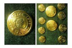 ButtonArtMuseum.com - Ralph Lauren Chaps Est 1978 Metal Gold Color 10 Blazer Jacket Coat Button Set
