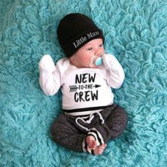New to the crew baby set 3 pcs 3 to 18 months, baby boy shooting prop, little man baby hat pants longsleeve onesie, gift for birth boy - - Newborn Boy Clothes, Newborn Outfits, Baby Girl Newborn, Baby Baby, Baby Birth, Babies Clothes, The Babys, Cute Baby Boy Outfits, Cute Baby Clothes