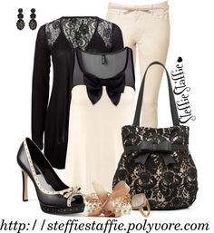 """""""Cream, Black & Lace"""" by steffiestaffie ❤ liked on Polyvore"""
