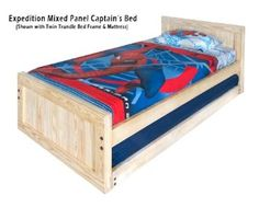 Room Doctor Platform Beds Kids Captains Bed- Twin Size - Tall Headboard and Low Footboard Includes Trundle Solid Wood Solid Wood Platform Bed, Platform Bed Frame, Tall Headboard, Headboard And Footboard, Trundle Bed Frame, Captains Bed, Bedroom Images, Cool Beds, Kid Beds