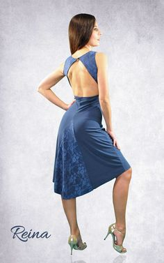 Reina Tango Dress elegant blue or black with lace