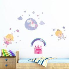 Bring whimsical delight to your little sprites room with these Home Decor Line Happy Fairies Wall Decals . This set is presented in cheerful,. Polka Dot Walls, Polka Dot Wall Decals, Vinyl Wall Decals, Wall Stickers, Dark Walls, Cool Walls, Mermaid Wall Decals, Beautiful Fairies, Mickey And Friends