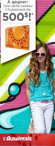 Gagnez 500 $ de shopping chez L'Aubainerie ! Fin le 21 juillet.  http://rienquedugratuit.ca/concours/shopping-chez-laubainerie/